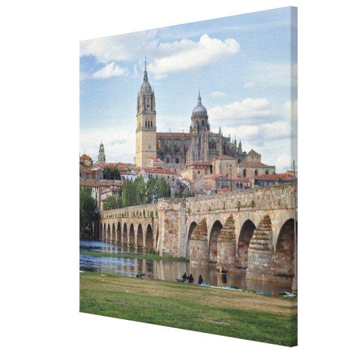 Europa, España, Salamanca. El puente romano encima Impresion En Lona