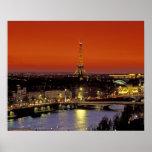 Europa, Francia, París. Opinión de la puesta del s Póster