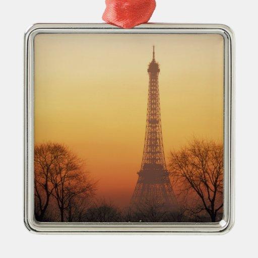 Europa, Francia, París. Torre Eiffel (medio Adorno Navideño Cuadrado De Metal
