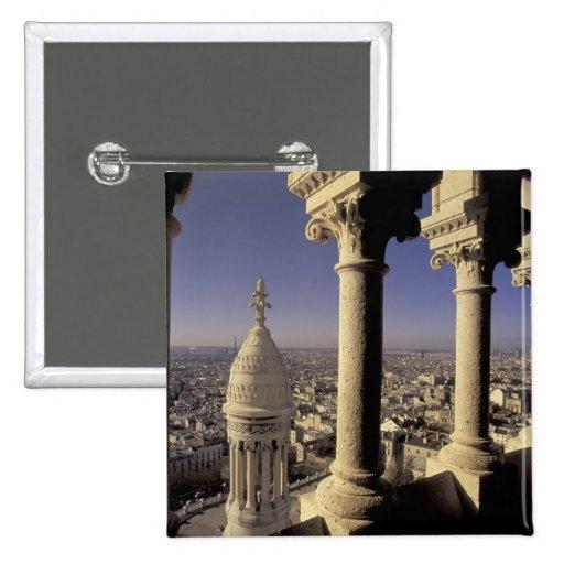 Europa, Francia, París, vista de París a través Pin Cuadrada 5 Cm