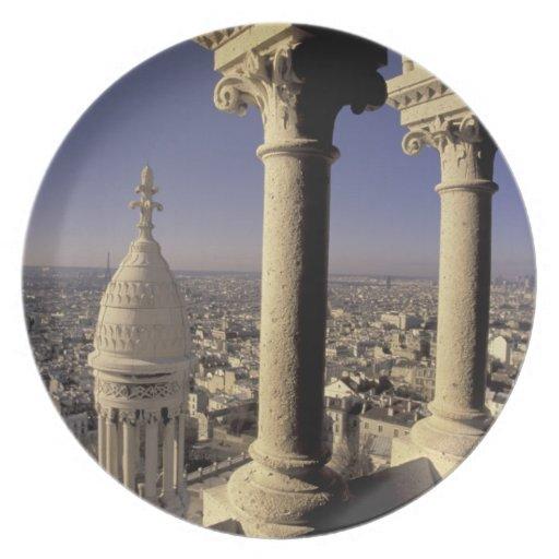 Europa, Francia, París, vista de París a través Platos De Comidas