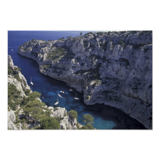 Europa, Francia, Provence, Calanques. Piedra caliz Póster