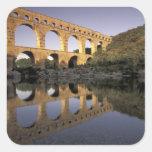 Europa, Francia, Provence, Gard; Pont du Gard, Pegatina Cuadrada