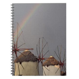 Europa, Grecia, Mykonos. molino de viento con el a Libro De Apuntes Con Espiral