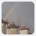 Europa, Grecia, Mykonos. molino de viento con el Pegatina Cuadrada