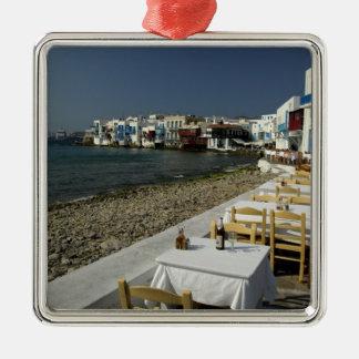 Europa, Grecia, Mykonos. Vistas de la playa Adorno Navideño Cuadrado De Metal