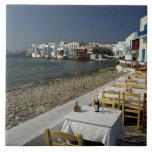 Europa, Grecia, Mykonos. Vistas de la playa Azulejo Cuadrado Grande