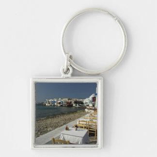 Europa, Grecia, Mykonos. Vistas de la playa Llavero Cuadrado Plateado