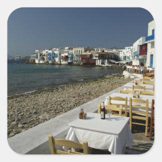 Europa, Grecia, Mykonos. Vistas de la playa Pegatina Cuadrada