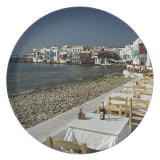 Europa, Grecia, Mykonos. Vistas de la playa Plato Para Fiesta