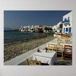 Europa, Grecia, Mykonos. Vistas de la playa Póster