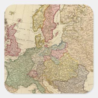 Europa ilustró el mapa pegatina cuadrada