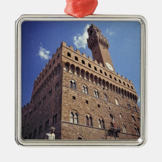 Europa, Italia, Florencia. El Plazzo medieval Adorno Navideño Cuadrado De Metal