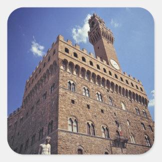 Europa, Italia, Florencia. El Plazzo medieval Pegatina Cuadrada