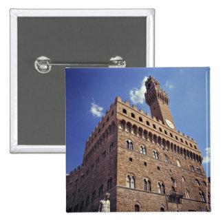 Europa, Italia, Florencia. El Plazzo medieval Pin Cuadrada 5 Cm