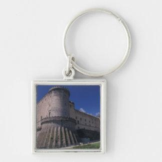 Europa, Italia, Nápoles, castillo Nuovo Llavero Cuadrado Plateado