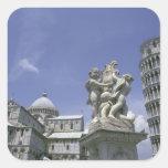 Europa, Italia, Pisa, torre inclinada de Pisa Calcomanía Cuadradas