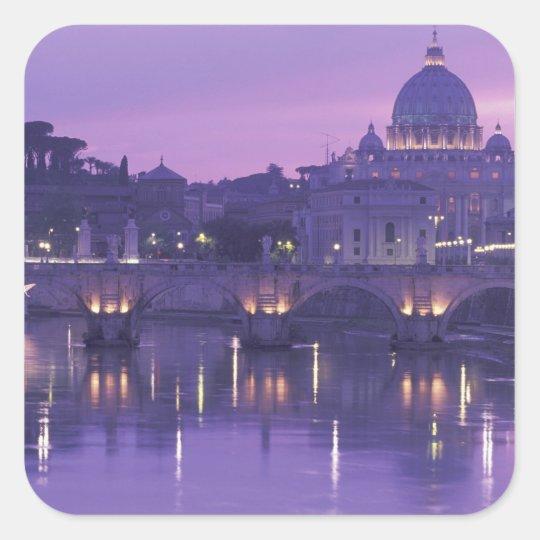 Europa, Italia, Roma. San Pedro y Ponte Sant Pegatina Cuadrada
