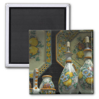 Europa, Italia, Sicilia, Taormina. 7 tradicionales Imán Cuadrado