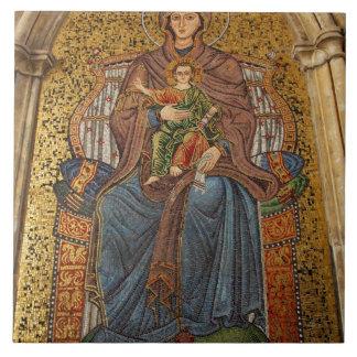 Europa, Italia, Sicilia, Taormina. Madonna y niño Azulejo Cuadrado Grande