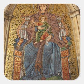 Europa, Italia, Sicilia, Taormina. Madonna y niño Pegatina Cuadrada