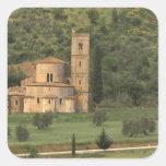 Europa, Italia, Toscana. Abbazia di Sant'Antimo, Pegatina Cuadrada