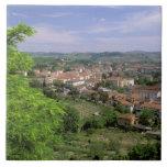 Europa, Italia, Toscana, Certaldo. Colina medieval Azulejo Cuadrado Grande
