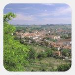 Europa, Italia, Toscana, Certaldo. Colina medieval Calcomanias Cuadradas