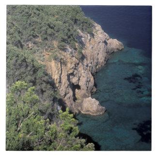 Europa, Italia, Toscana. Costa rocosa; Cala Azulejo Cuadrado Grande