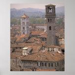 Europa, Italia, Toscana, Lucca, panorama de la ciu Poster