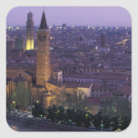 Europa, Italia, Verona, visión desde el Castel S. Calcomanias Cuadradas