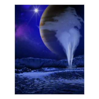 Europa Jupiter Moon Space Art Poster