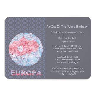 "Europa Jupiters Moon Space Geek Colorful 5"" X 7"" Invitation Card"