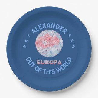 Europa Jupiters Moon Space Geek Colorful 9 Inch Paper Plate