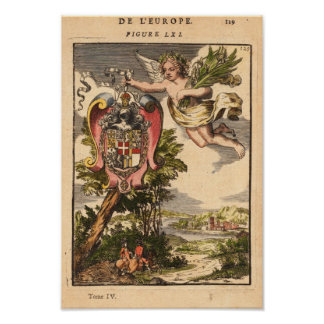 Europa Mallet Allain Manesson 1683 Reproduction Print