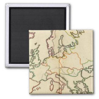 Europa, montañas y esquema de los ríos imán para frigorífico