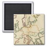 Europa, montañas y esquema de los ríos imán cuadrado