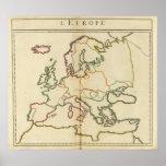 Europa, montañas y esquema de los ríos póster