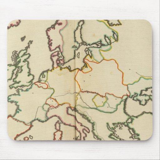 Europa, montañas y esquema de los ríos tapetes de ratón