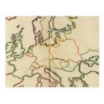 Europa, montañas y esquema de los ríos tarjeta postal