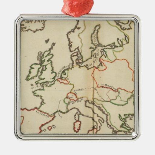 Europa, montañas y ríos adorno cuadrado plateado