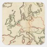 Europa, montañas y ríos pegatina cuadrada