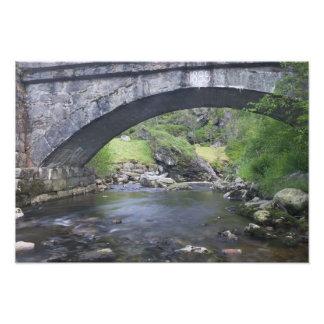 Europa, Noruega. Puente de piedra en el camino a B Fotografía