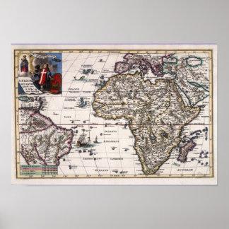 Europa, nuevo mundo América y mapa antiguo de Áfri Póster