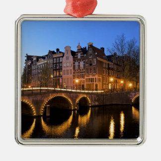 Europa, Países Bajos, Holanda, Amsterdam, Adorno Navideño Cuadrado De Metal