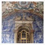 Europa, Portugal, Obidos. Arquitectónico colorido Azulejo Cuadrado Grande
