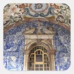 Europa, Portugal, Obidos. Arquitectónico colorido Pegatina Cuadrada