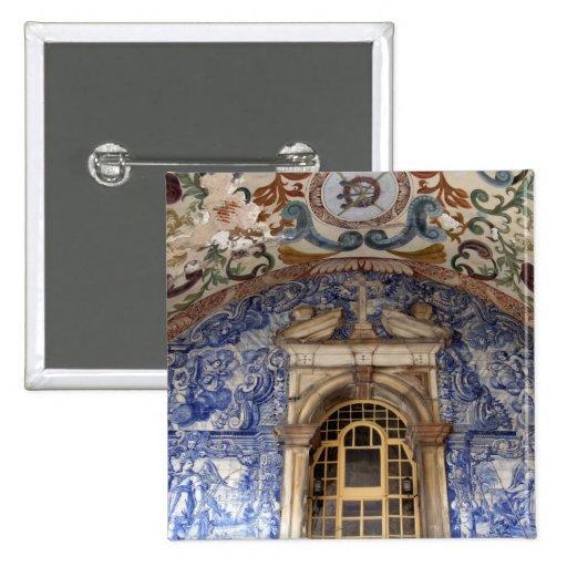 Europa, Portugal, Obidos. Arquitectónico colorido Pin Cuadrado