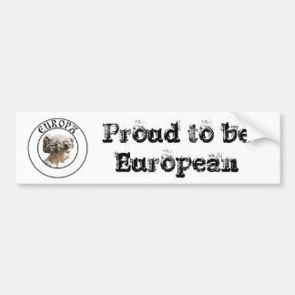 Europa: ¡Sea orgulloso mostrar sus raíces euro! Pegatina De Parachoque