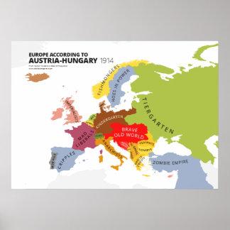 Europa según Austria-Hungría Póster